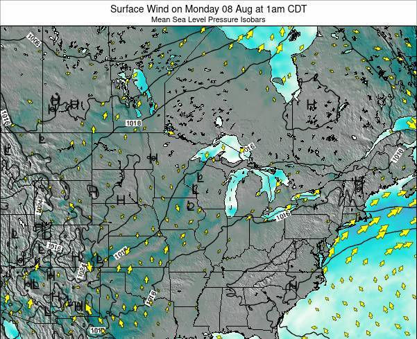 Wisconsin Surface Wind on Thursday 24 Jul at 1am CDT