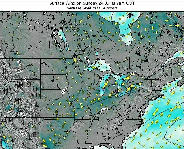 Wisconsin Surface Wind on Friday 01 Aug at 7am CDT