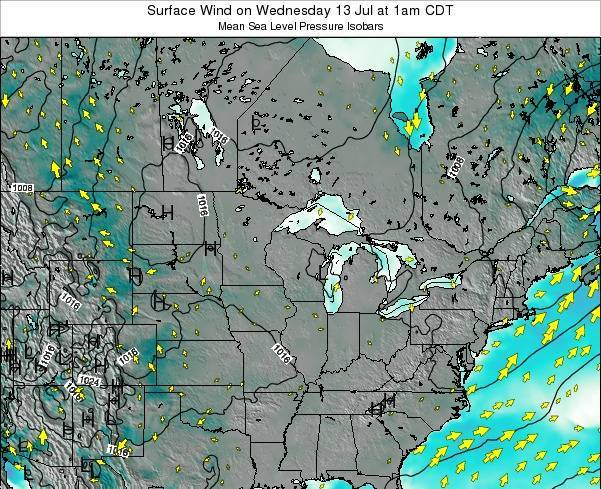 Wisconsin Surface Wind on Saturday 25 Oct at 7pm CDT