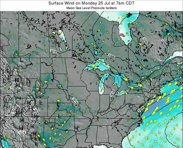 Minnesota Surface Wind on Monday 27 May at 1pm CDT map