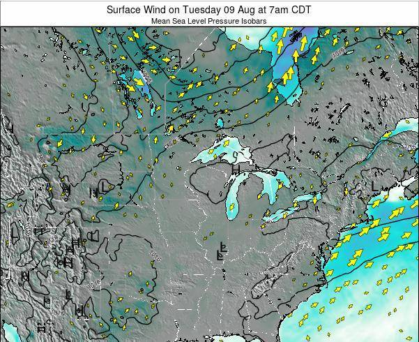 Wisconsin Surface Wind on Monday 27 May at 1pm CDT