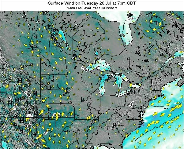 Michigan Surface Wind on Monday 27 May at 7am CDT