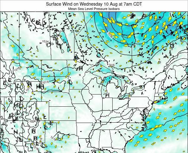 Minnesota Surface Wind on Thursday 23 May at 1pm CDT map