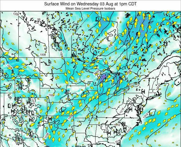 Wisconsin Surface Wind on Friday 14 Mar at 1pm CDT
