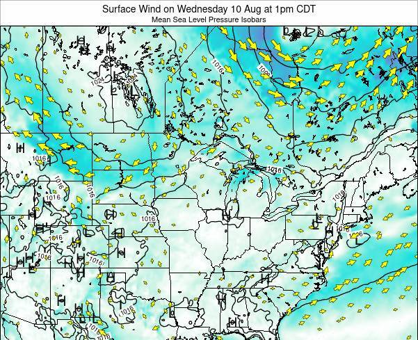 Wisconsin Surface Wind on Wednesday 20 Dec at 12pm CST map
