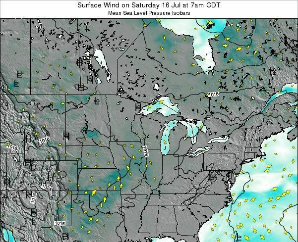 Wisconsin Surface Wind on Sunday 27 Apr at 7pm CDT