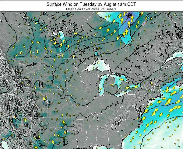 Wisconsin Surface Wind on Monday 28 Jul at 1pm CDT