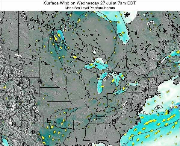 Wisconsin Surface Wind on Wednesday 26 Oct at 1am CDT