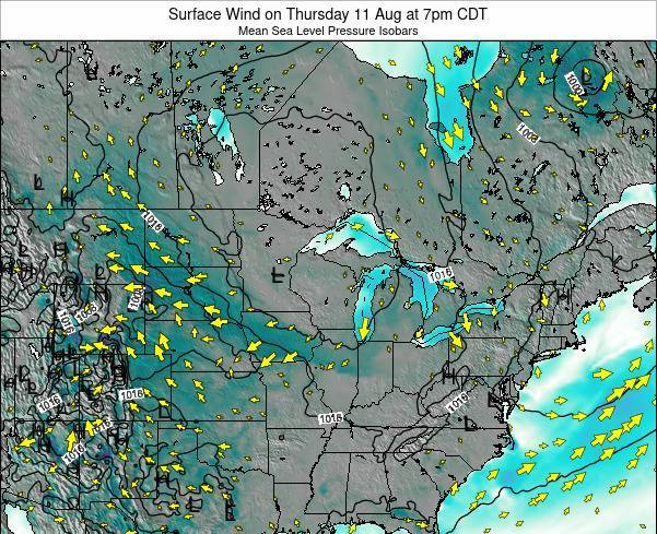 Minnesota Surface Wind on Thursday 23 May at 1am CDT map
