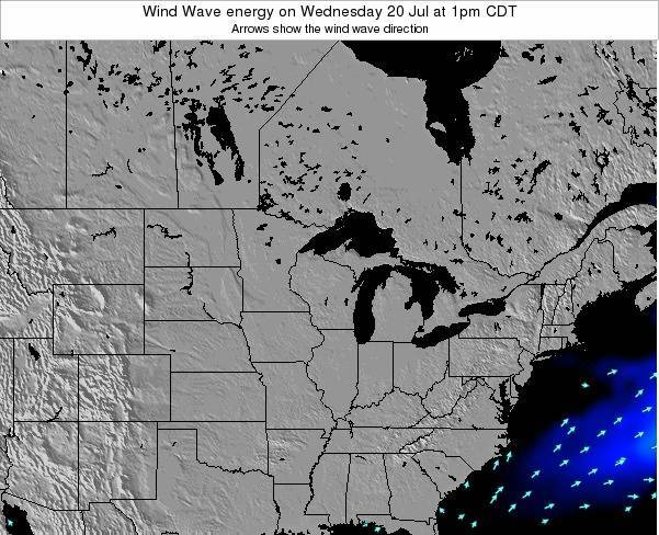 Wisconsin Wind Wave energy on Wednesday 22 May at 7am CDT