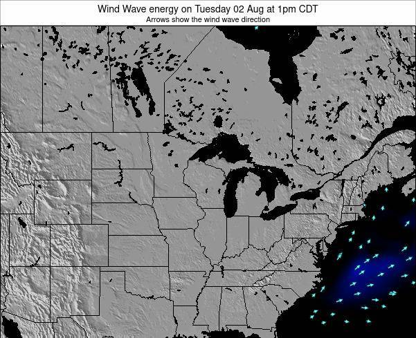 Wisconsin Wind Wave energy on Saturday 20 Jan at 12pm CST map