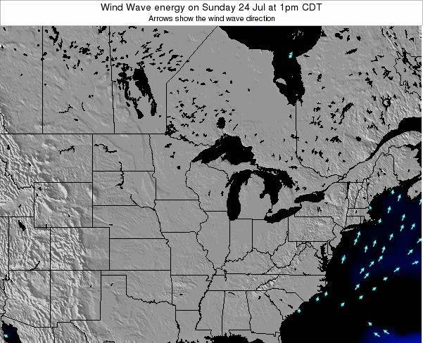 Wisconsin Wind Wave energy on Saturday 25 Oct at 1am CDT