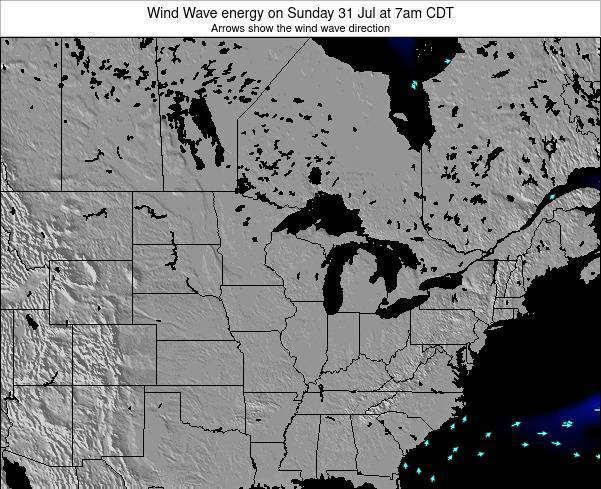 Wisconsin Wind Wave energy on Friday 25 Jul at 7am CDT