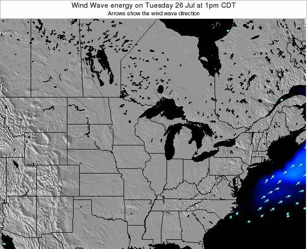 Wisconsin Wind Wave energy on Saturday 25 May at 1am CDT