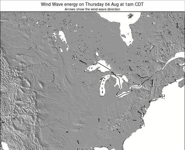 Wisconsin Wind Wave energy on Friday 24 May at 1pm CDT