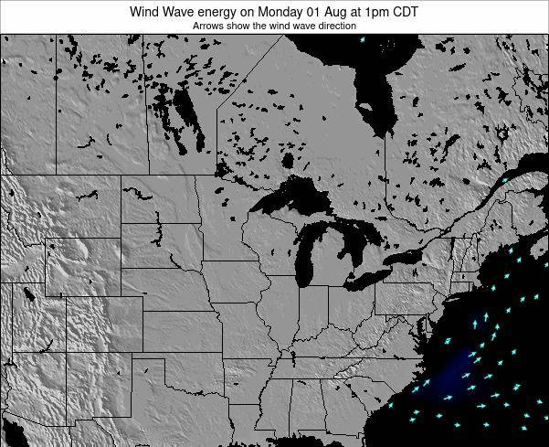 Wisconsin Wind Wave energy on Friday 25 Jul at 1pm CDT