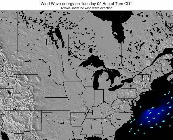 Wisconsin Wind Wave energy on Wednesday 12 Mar at 1am CDT