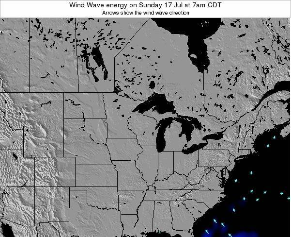 Wisconsin Wind Wave energy on Sunday 08 Dec at 12pm CST