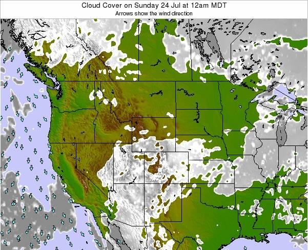 Wyoming Cloud Cover on Saturday 18 May at 12am MDT map