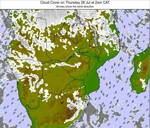 Namibia Cloud Cover on Thursday 23 May at 8pm CAT