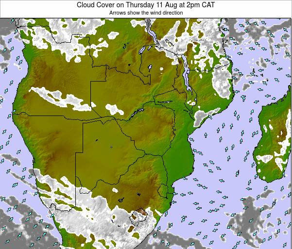 Namibia Cloud Cover on Monday 23 Dec at 2pm CAT