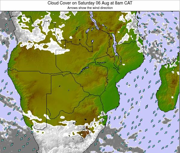 Namibia Cloud Cover on Saturday 25 May at 2pm CAT