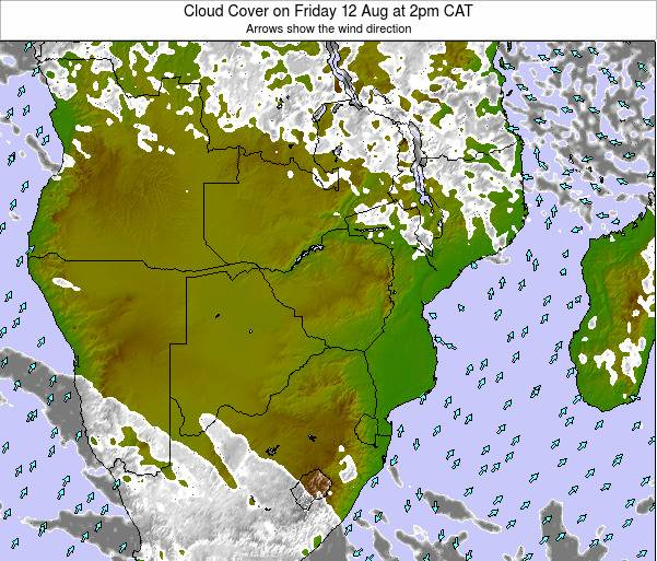 Malawi Cloud Cover on Wednesday 29 May at 2am CAT map