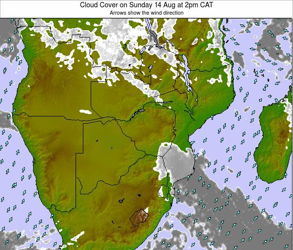 Namibia Cloud Cover on Wednesday 29 May at 2pm CAT