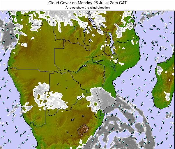 Namibia Cloud Cover on Monday 20 May at 8pm CAT