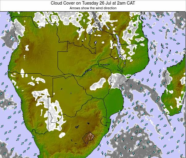Malawi Cloud Cover on Thursday 20 Jun at 2am CAT map
