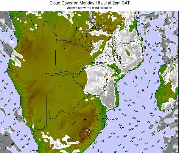 Namibia Cloud Cover on Thursday 23 May at 2pm CAT