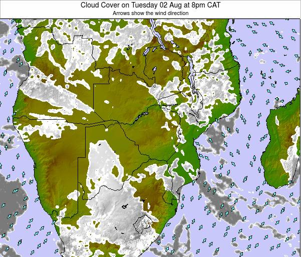 Namibia Cloud Cover on Thursday 20 Jun at 2am CAT