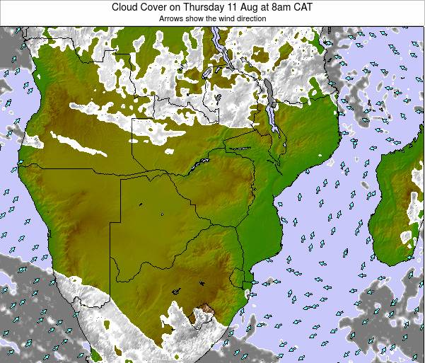 Namibia Cloud Cover on Saturday 25 May at 8am CAT