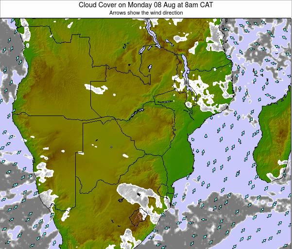 Malawi Cloud Cover on Tuesday 28 May at 8pm CAT map