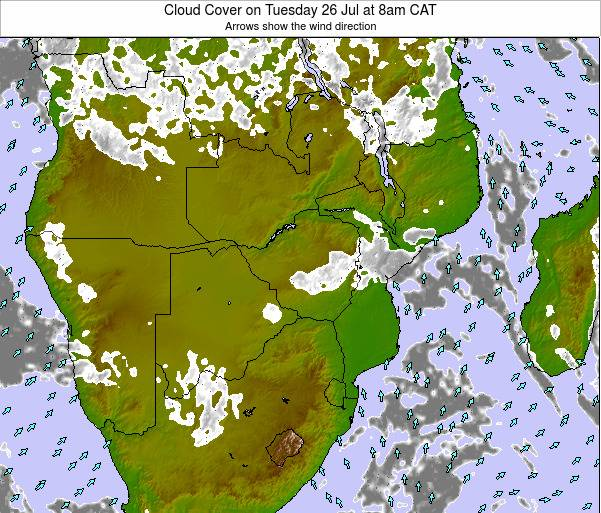 Namibia Cloud Cover on Monday 27 May at 2am CAT