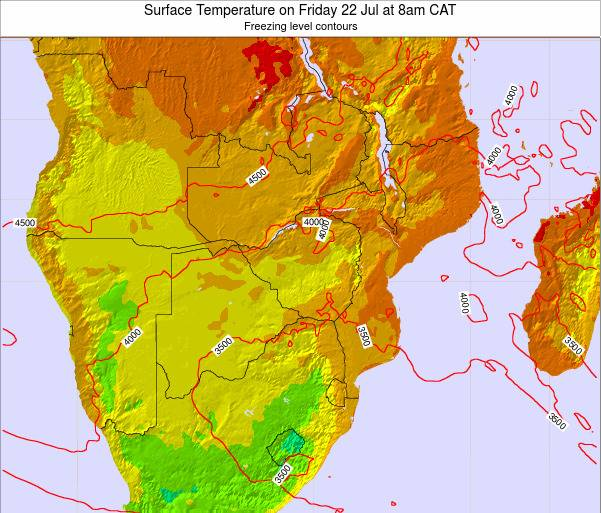 Namibia Surface Temperature on Wednesday 29 May at 8pm CAT map