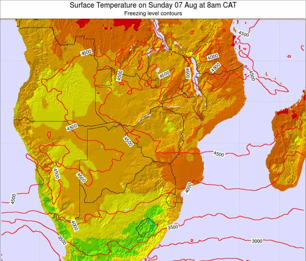 Namibia Surface Temperature on Saturday 25 May at 8am CAT map