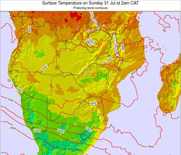 Namibia Surface Temperature on Wednesday 22 May at 2pm CAT