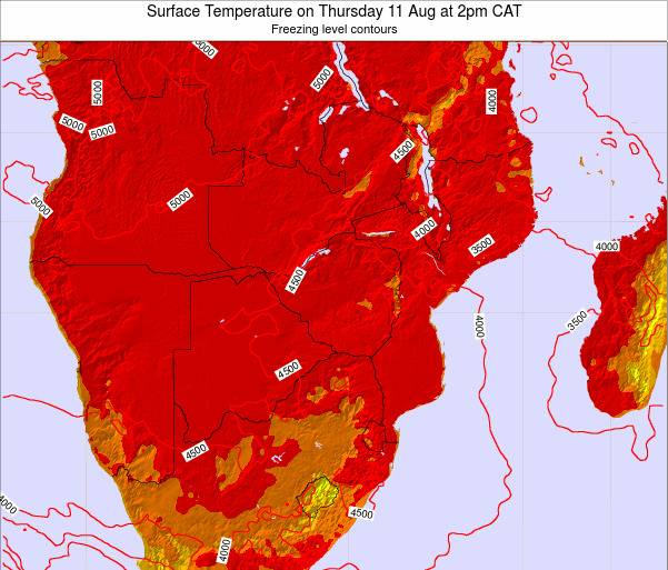 Mozambique Surface Temperature on Thursday 23 May at 8pm CAT map