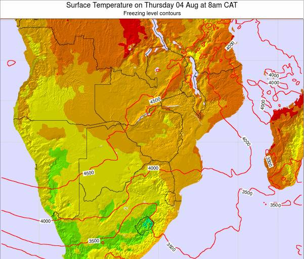 Zimbabwe Surface Temperature on Tuesday 25 Jun at 2am CAT map