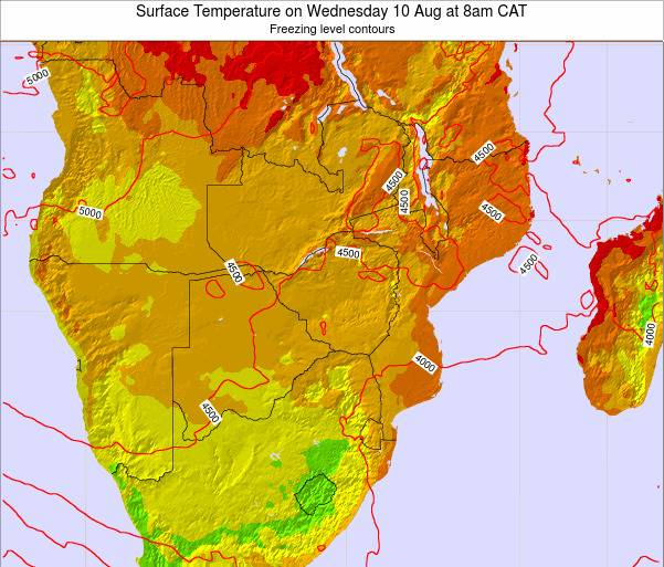 Namibia Surface Temperature on Thursday 30 May at 8pm CAT map