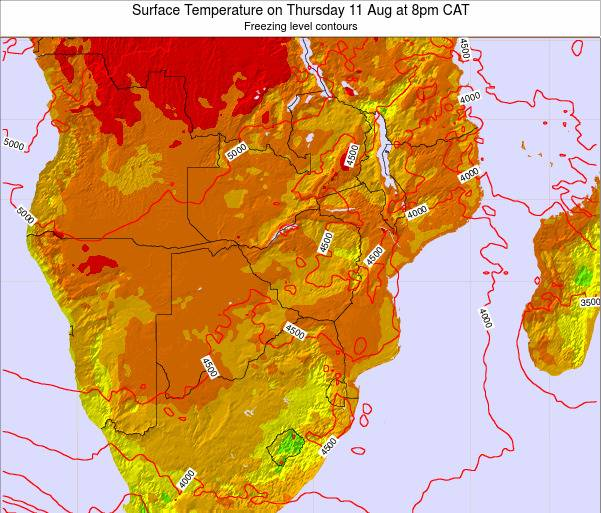 Zimbabwe Surface Temperature on Saturday 25 May at 2pm CAT map