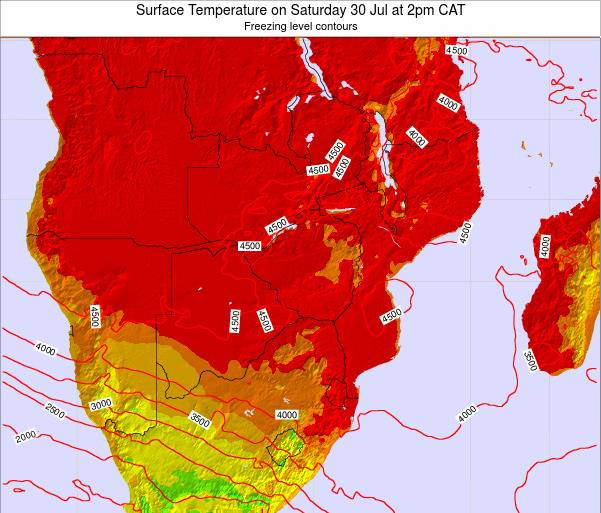 Mozambique Surface Temperature on Saturday 01 Jun at 2pm CAT map