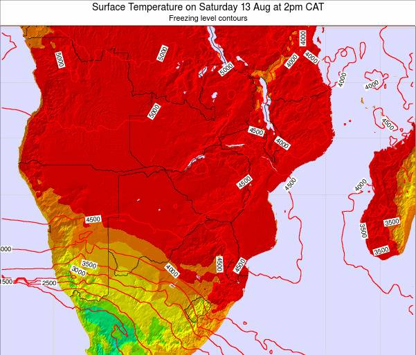 Zimbabwe Surface Temperature on Tuesday 25 Jun at 2pm CAT map
