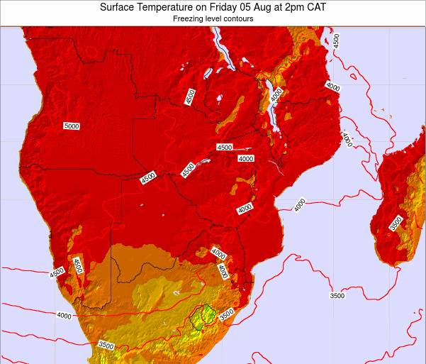 Namibia Surface Temperature on Sunday 19 May at 2pm CAT