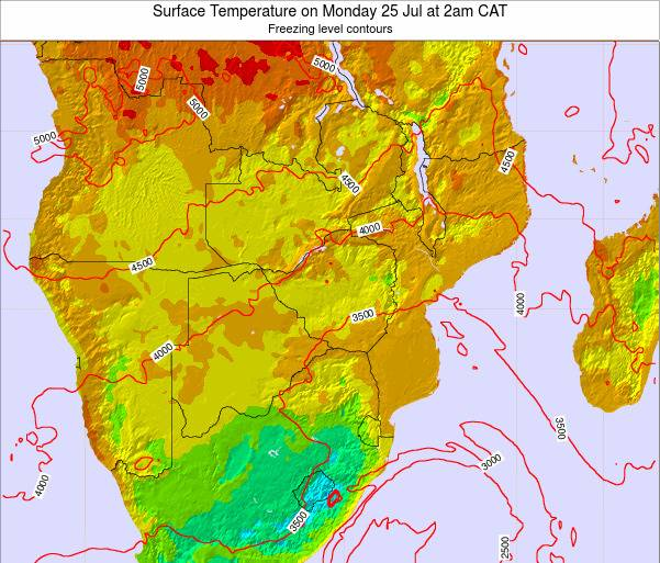 Mozambique Surface Temperature on Saturday 25 May at 2am CAT map