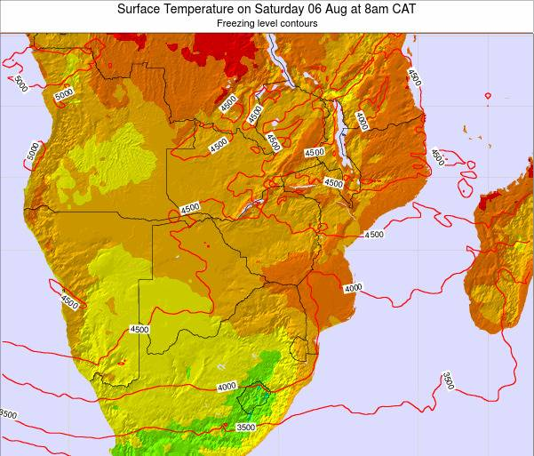 Namibia Surface Temperature on Saturday 22 Jun at 2am CAT map