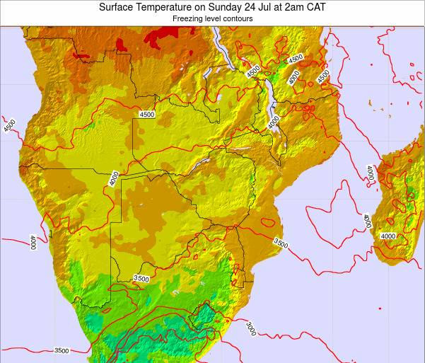 Namibia Surface Temperature on Sunday 22 Apr at 2am CAT map