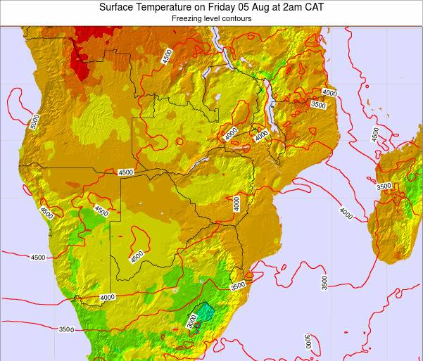 Namibia Surface Temperature on Monday 24 Sep at 2pm CAT map