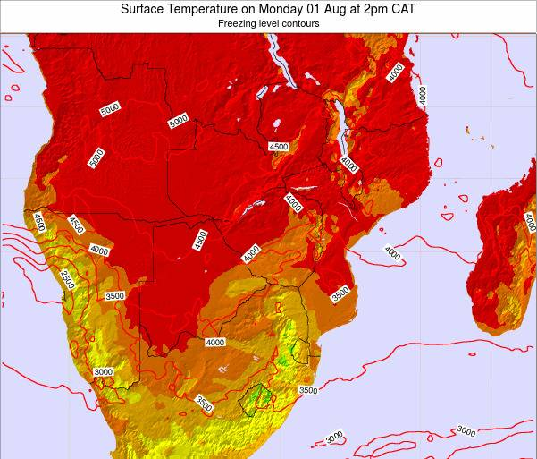 Namibia Surface Temperature on Saturday 25 May at 2pm CAT map